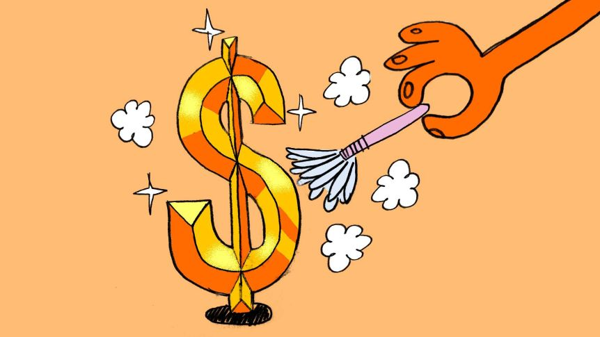 An illustration of a dollar sign being cleaned with a feather duster.